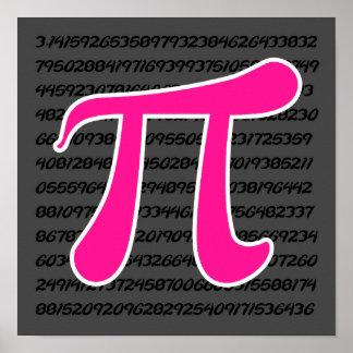 Hot Pink Pi Symbol Posters