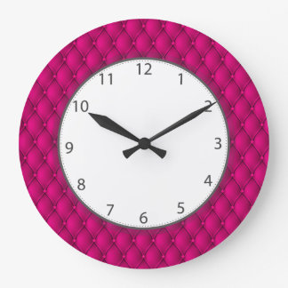 Hot Pink Pillowed Upholstery Numbers Large Clock