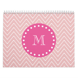 Hot Pink, Pink Chevron | Your Monogram Wall Calendar