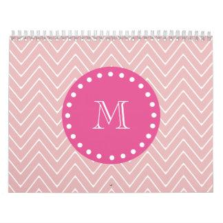 Hot Pink, Pink Chevron | Your Monogram Calendar