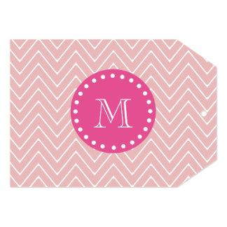 Hot Pink, Pink Chevron   Your Monogram Card