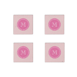 Hot Pink, Pink Chevron   Your Monogram Stone Magnet