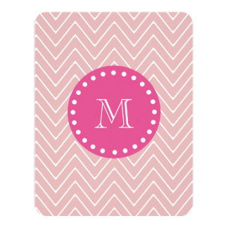 Hot Pink, Pink Chevron | Your Monogram 4.25x5.5 Paper Invitation Card