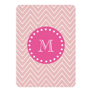 "Hot Pink, Pink Chevron | Your Monogram 4.5"" X 6.25"" Invitation Card"