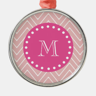 Hot Pink, Pink Chevron | Your Monogram Ornaments