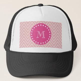 Hot Pink, Pink Chevron   Your Monogram Trucker Hat