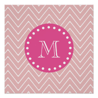 Hot Pink, Pink Chevron | Your Monogram Perfect Poster