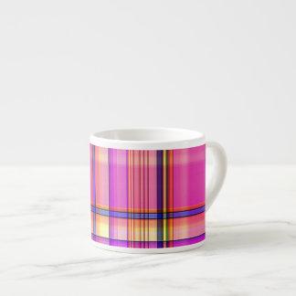 Hot Pink Plaid Espresso Mug 6 Oz Ceramic Espresso Cup
