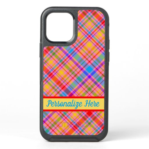 Hot Pink Plaid Pattern Personalized OtterBox Symmetry iPhone 12 Case