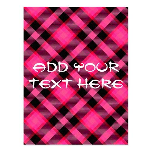 Hot Pink Plaid, Punk, Emo, or Preppy Postcard