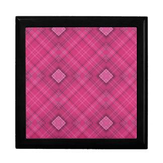 Hot Pink Plaid Square Pattern Gift Box