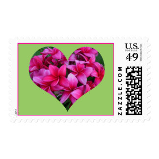 Hot Pink Plumeria in Heart Shape on Lime Postage