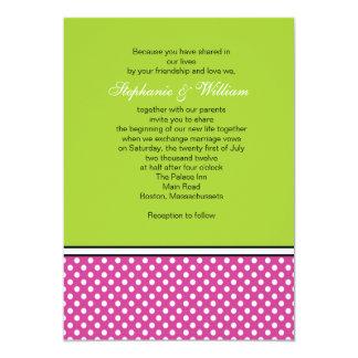 Hot Pink Polka Dot and Green Wedding Invitation