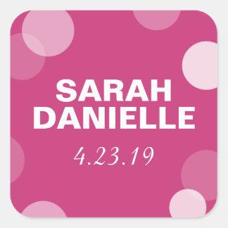 Hot Pink Polka Dot Confetti Favor Tag