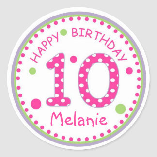 Hot Pink Polka Dot Happy Birthday Number 10 Classic Round Sticker