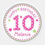Hot Pink Polka Dot Happy Birthday Number 10 Round Stickers