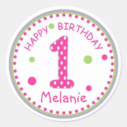 Hot Pink Polka Dot Happy Birthday Number 1 Round Stickers