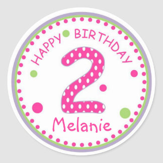 Hot Pink Polka Dot Happy Birthday Number 2 Round Stickers
