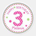 Hot Pink Polka Dot Happy Birthday Number 3 Round Sticker