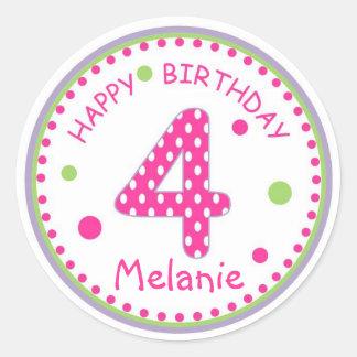 Hot Pink Polka Dot Happy Birthday Number 4 Round Sticker