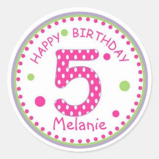 Hot Pink Polka Dot Happy Birthday Number 5 Classic Round Sticker