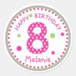 Hot Pink Polka Dot Happy Birthday Number 8 Round Stickers