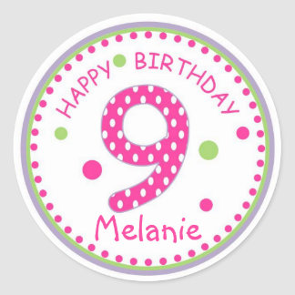 Hot Pink Polka Dot Happy Birthday Number 9 Classic Round Sticker