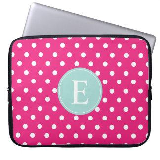 Hot Pink Polka Dot Mint Monogram Laptop Computer Sleeve
