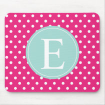 Hot Pink Polka Dot Mint Monogram Mouse Pad