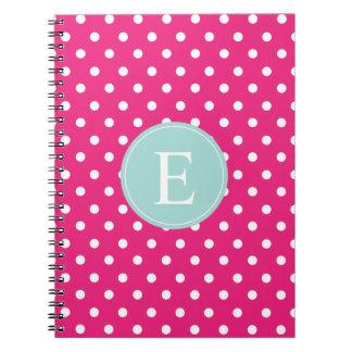 Hot Pink Polka Dot Mint Monogram Spiral Note Books