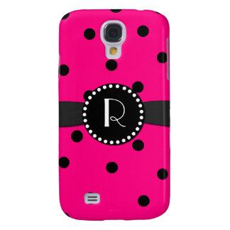 Hot Pink Polka Dot Monogram Samsung Galaxy S4 Galaxy S4 Case