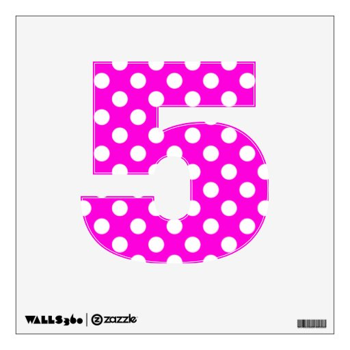 Hot Pink Polka Dot Number 5 Wall Decal | Zazzle