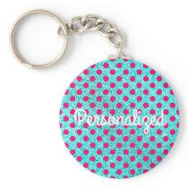Hot Pink Polka Dot Pattern Aqua Glitter Keychain