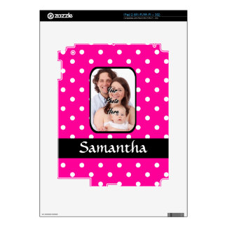 Hot pink polka dot pattern decal for the iPad 2