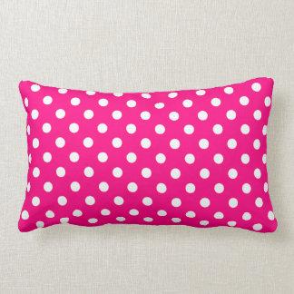 Hot Pink Polka Dot Pattern Lumbar Pillow