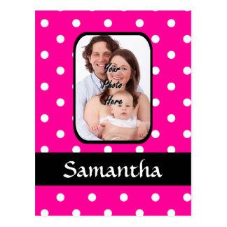 Hot pink polka dot pattern postcard