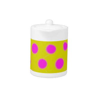 Hot Pink Polka Dot Watercolor Teapot