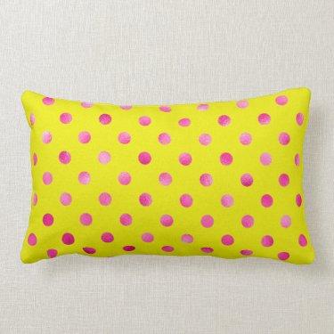 Hot pink,polka dot,yellow,girly,trendy,fun,pattern pillows