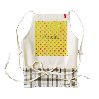 Hot pink,polka dot,yellow,girly,trendy,fun,pattern zazzle HEART apron