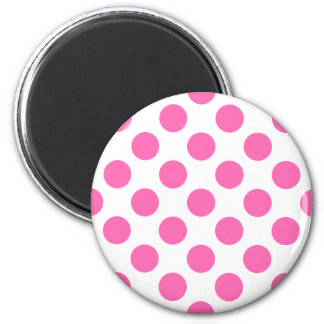 Hot Pink Polka Dots 2 Inch Round Magnet