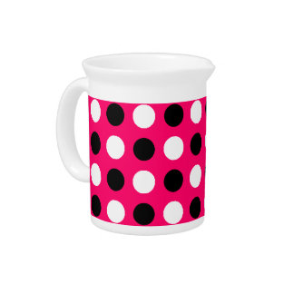 Hot Pink Polka Dots Beverage Pitcher