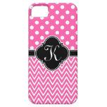Hot Pink Polka Dots Chevron Quatrefoil Monogram iPhone 5 Cases