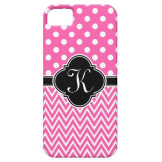 Hot Pink Polka Dots Chevron Quatrefoil Monogram iPhone SE/5/5s Case