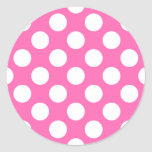 Hot Pink Polka Dots Classic Round Sticker