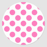 Hot Pink Polka Dots Classic Round Sticker at Zazzle