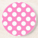 "Hot Pink Polka Dots Coaster<br><div class=""desc"">Hot pink and white polka dot pattern.</div>"