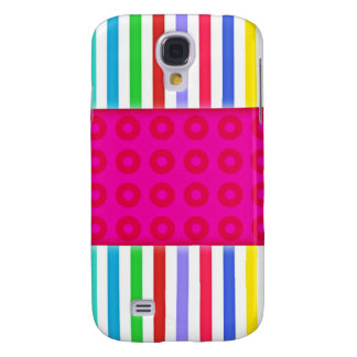 Hot Pink Polka Dots Colorful Stripes Pattern Galaxy S4 Cover