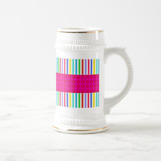 Hot Pink Polka Dots Colorful Stripes Pattern 18 Oz Beer Stein