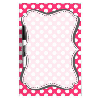Hot Pink Polka Dots Dry-Erase Board