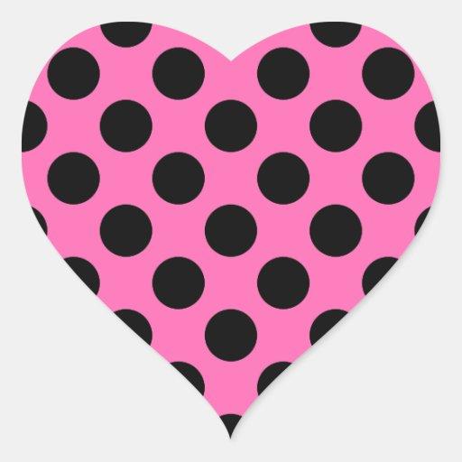Hot Pink Polka Dots Heart Sticker